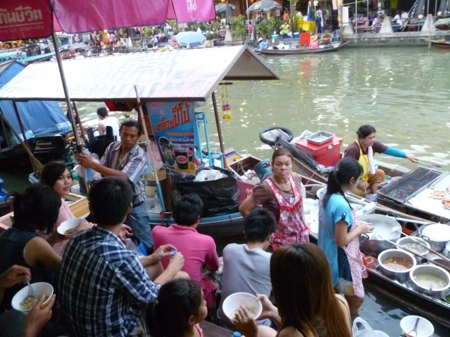 Bustling floating market outside of Bangkok